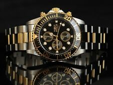 INVICTA PRO DIVER 1772 MENS BLACK GOLD DIAL STAINLESS STEEL CHRONO WATCH NEW