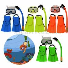 Kids Diving Mask Snorkel& Glasses&Fins Set Silicone Swimming Pool Equipment Gift