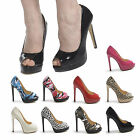 NEW WOMENS PEEPTOE HIGH HEEL STILETTO PLATFORM SHOES PARTY ARMY PATENT