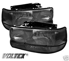 1999-2002 CHEVY SILVERADO 1500 2500 CRYSTAL HEADLIGHTS AMBER LIGHTBAR SMOKE