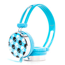 SKULL PATTERN OVER THE HEAD BOYS GIRLS KIDS HEADPHONES IPAD MINI IPAD 2 3 4 BLUE