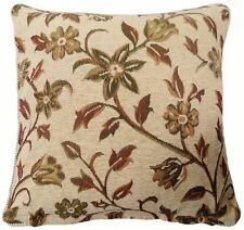 "CREAM BROWN BEIGE GREEN TAPESTRY CHENILLE FLORAL LEAF CUSHION COVER 18""- 45CM"