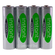 4 x AA 2500mAh Piles Rechargeables Faible self-discharge