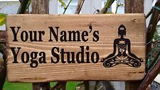 PERSONALISED YOGA STUDIO RETREAT ROOM WOODEN WALL SIGN PLAQUE HANDMADE NAMASTE
