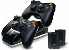 Xbox 360 Wireless Controller Charger Dock Dual Port+2 Rechargeable Batteries New
