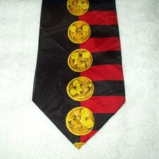 Tie Novelty Cartoon Disney Mickey Mouse Gold Coins with Red Black Stripes