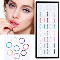 New Wholesale 40pcs/Box Multi Stainless Steel Nose Studs Ring Hoop Body Piercing