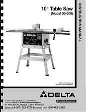 """Delta 10"""" Table Saw Instruction Manual for Model No. 36-600"""