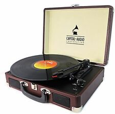 BROWN SUITCASE VINYL RECORD PLAYER * USB CONNECTIVITY * 5 WATT SPKS. TURNTABLE