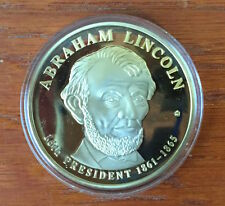 Abraham Lincoln Dollar Trial Commemorative Coin Layered in 24k Gold w/COA