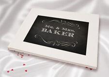 Personnalisé A5 Lin blanc finition Mariage Livre d'or - Tableau MR & MRS-e