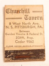 Vintage matchbook cover: Churchill Restaurant, Pittsburgh, PA, 4 digit phone #