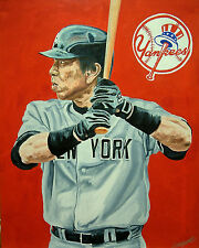 Hideki Matsui New York Yankees MLB Original Oil Painting Baseball Sports Art