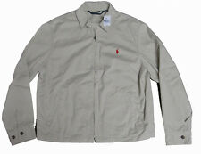 Polo Ralph Lauren Mens Beige Red Blue Pony Logo Windbreaker Zip Jacket Coat New