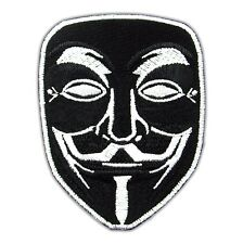 Vendetta Anonymous Black Mark Guy Hacker Fawkes Face Embroidered Iron On Patch