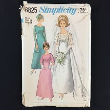 Vtg 1960s Simplicity 6825 Pattern Miss Wedding Or Bridesmaid Dress Sz 14 Bust 34