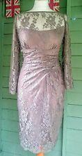 Warehouse Spotlight lace mink pencil wiggle dress 14 vintage wedding bridesmaid