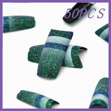 50pcs Green Blue Stripe Glitter French False Nail Tips FN0055+1 Free Glue