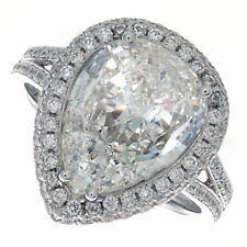 18K H SI 2.60ct Pear Shape Halo Pavé Diamond Engagement Ring Certified