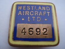 C1950S VINTAGE WESTLAND AIRCRAFT LTD ENAMEL STAFF PIN BADGE