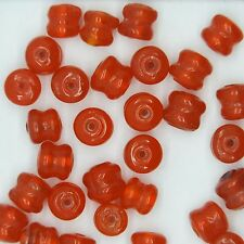Glass Beads Orange Transparent Yoyo Tire 7mm. Pack of 30. Made in India.