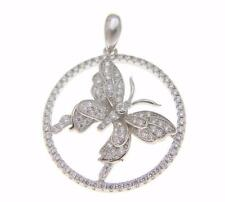 SOLID 925 STERLING SILVER HAWAIIAN BUTTERFLY ROUND PENDANT MICRO PAVE CZ RHODIUM