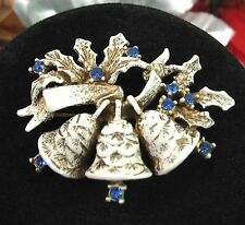 DODDS Doddz Vintage CHRISTMAS BELLS Brooch Pin Blue RHINESTONES  White Goldtone