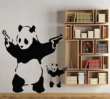 LARGE BANKSY PANDA ART BEDROOM WALL MURAL STENCIL STICKER TRANSFER VINYL DECAL