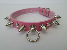 pink extra small spiked with diamontes   dog chihuahua dog collar 8-11 inch