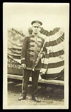 Antique Photograph Marching Band Man In Uniform With Clarinet Musical Instrument