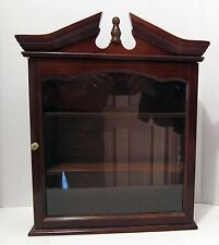 Wood Display Cabinet - 3 Shelves - Broken Pediment Top