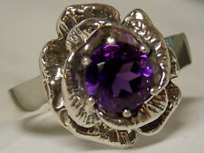 NATURAL 1.30c purple Amethyst flower ring antique 925 sterling silver size 5.5