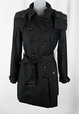 Burberry Brit Black Cotton Double Breasted Belted Trench Coat Jacket Size 6