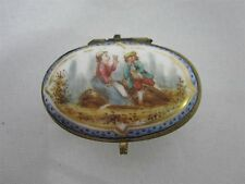 ANTIQUE TRINKET BOX with HAND PAINTED LOVERS LADY & GENT with SWORD MARKS