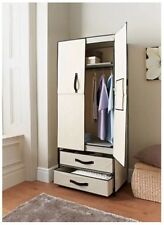 HIGH QUALITY DELUXE DOUBLE CANVAS WARDROBE WITH OPENING DOORS DRAWER CREAM NEW