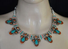 Sterling Silver Necklace Handmade Asian Jewelry Turquoise Ethnic Tribal 6UN