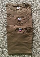 Lot Of 3 Vintage Deadstock Fruit Of The Loom Brown T-Shirt Size L Made In USA