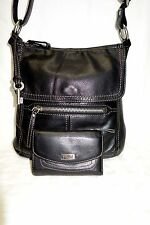 FOSSIL HANOVER Large Black Leather Crossbody Messenger & Tri-Fold Wallet Silver