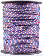 Red, White, and Blue Stripes - 550 Paracord Rope 7 strand Cord - 1000 Foot Spool