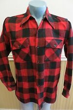 Vintage 50s Big Yank Mens Large Buffalo Plaid Wool Flannel Work Shirt