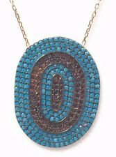 .925 Sterling Silver Womens Eye Shape Turquoise  Pendant Necklace -US Seller