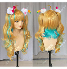 65cm Nico kiznaiver Golden brown green 2 ponytail Cosplay Wig lady's wigs