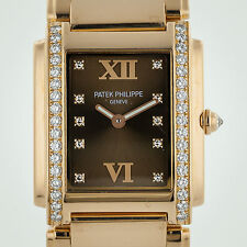 Patek Philippe 4910-11, Twenty-4, Ladies, 18K Rose Gold Diamond, Chocolate Dial