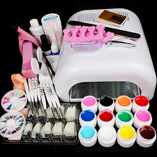 Pro Full 36W White Cure Lamp Dryer + 12 Color UV Gel Nail Art Tools Sets Kits
