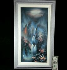 Original Waterfall Oil Painting on Canvas SIGNED IZ Asian Landscape Framed Art