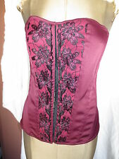 Lace up corset bustier burgundy purple & black w embroidery M burlesque boudoir