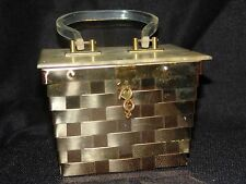 Vintage Dorset Rex Gold Box Purse with Lucite lid & handle