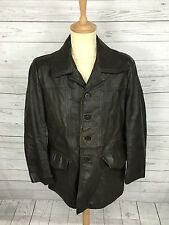 Mens Vintage Leather Safari Jacket - Medium 44 - Brown - Great Condition