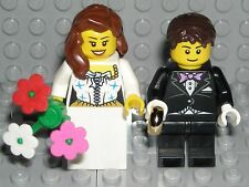LEGO Wedding Bride Groom Minifigures w/ Ring and Flowers Cake Topper