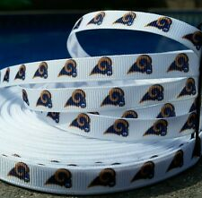 "NFL Los Angeles Rams 3 yards  3/8"" Grosgrain Ribbon Bow Craft Headband, White"